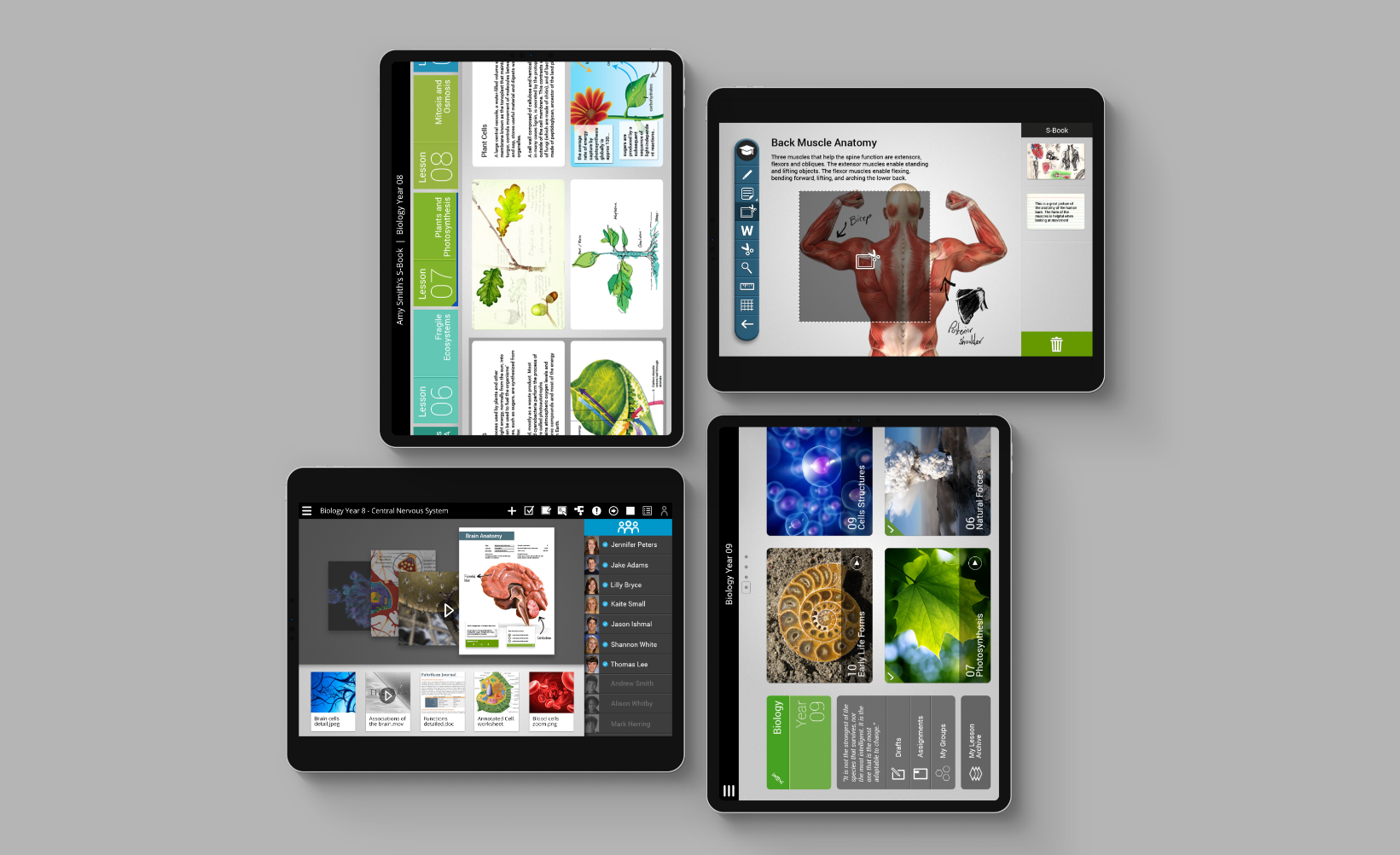 Samsung School user interfaces